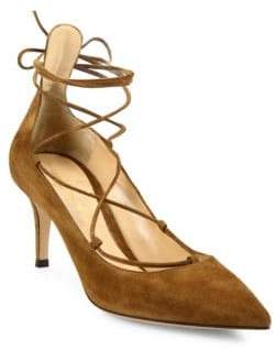 Gianvito Rossi Lexi Suede Lace-Up Mid-Heel Pumps
