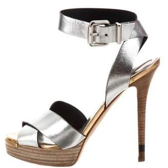Fendi Metallic Platform Sandals