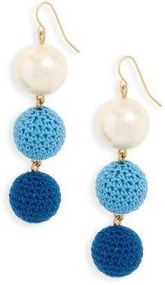 J.Crew J. Crew Crochet Ball and Imitation Pearl Drop Earrings