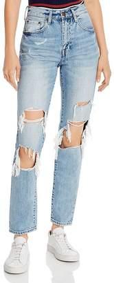 Pistola Denim Presley High-Rise Distressed Straight-Leg Jeans in Medium Blue