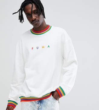 Puma organic cotton sweat with small logo in white Exclusive at ASOS