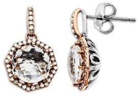 Lord & Taylor White Quartz and Diamond Accented Earrings in Sterling Silver with 14K Rose Gold