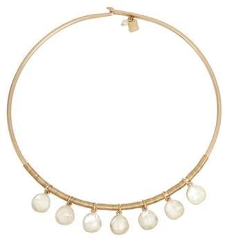 Robert Lee Morris Glass Pearl Fringe Collar Necklace