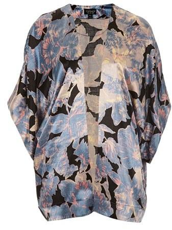 Topshop 'Chateau Femme' Print Satin Kimono Jacket