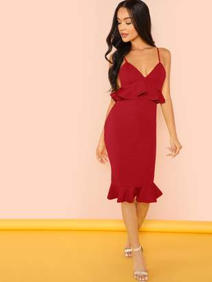 2a8951b4f714 Shein Spaghetti Strap Ruffle Bodycon Dress
