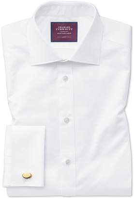 Charles Tyrwhitt Classic Fit White Luxury Twill Egyptian Cotton Dress Shirt French Cuff Size 15.5/32