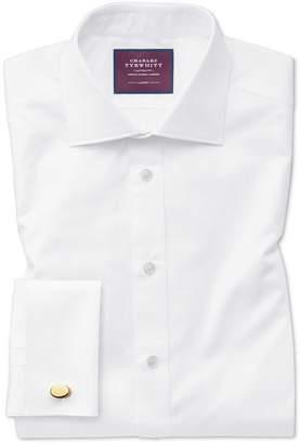 Charles Tyrwhitt Classic Fit White Luxury Twill Egyptian Cotton Dress Shirt French Cuff Size 15/35