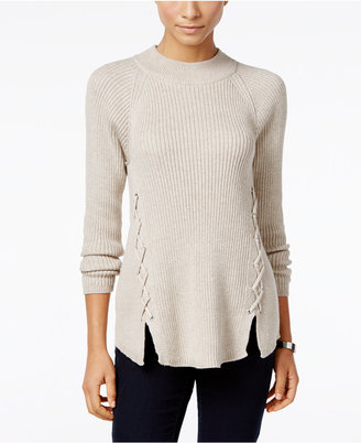 Style & Co. Mock-Neck Lace-Up Sweater, Only at Macy's $54.50 thestylecure.com
