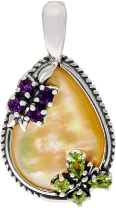 Mother of Pearl Carolyn Pollack Sterling Golden Butterfly Enhancer