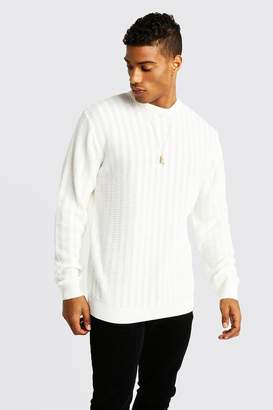 boohoo Ladder Stitch Crew Neck Knitted Sweater