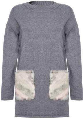 Quiz Grey Faux Fur Pockets Long Jumper