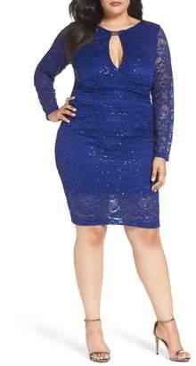 Marina Keyhole Lace Sheath Dress