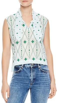 Sandro Maylee Embroidered Top