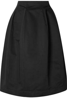 Marni Cotton And Linen-blend Twill Midi Skirt - Black