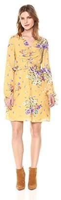 Ella Moon Women's Gabby V-Neck Gathered Tie Front Ruffle Waist Mini Dress