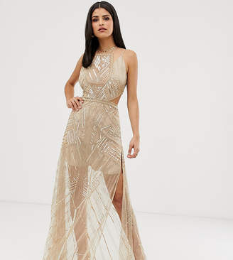 Asos Tall DESIGN Tall maxi dress with geometric embellishment and sheer panels