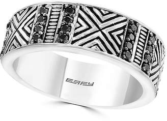 Effy Men's Sterling Silver Black Diamond 0.45 TCW Engraved Ring