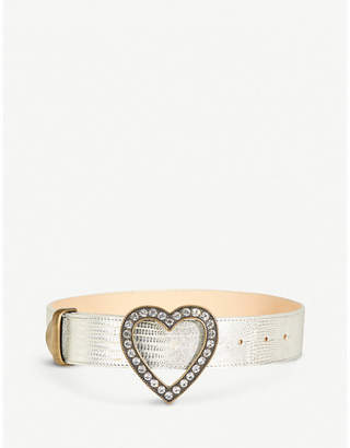 Alessandra Rich Heart crystal-embellished lizard-leather belt