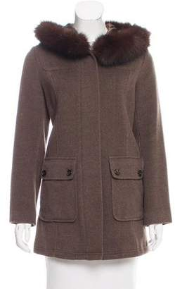 Sofia Cashmere Short Fur-Trimmed Coat