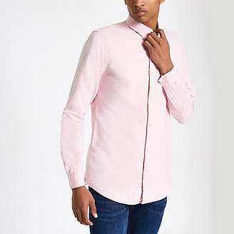 River Island Mens Pink wasp embroidered Oxford shirt