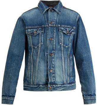 Balenciaga Contrast Panel Denim Jacket - Mens - Blue