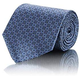 Brioni Men's Crosshatch-Dot-Print Silk Satin Necktie - Blue