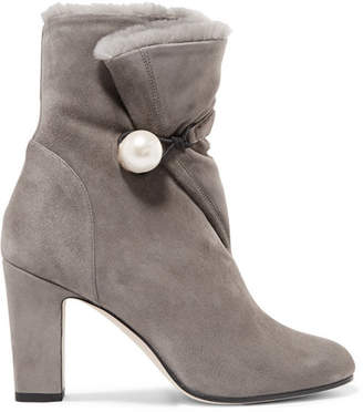 Jimmy Choo Bethanie 85 Shearling-lined Suede Ankle Boots - Dark gray