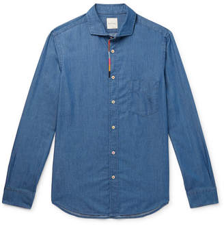 Paul Smith Soho Embroidered Cotton And Tencel-Blend Chambray Shirt
