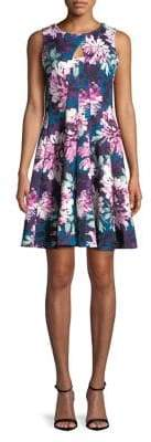 Gabby Skye Pleated Floral Fit-&-Flare Dress