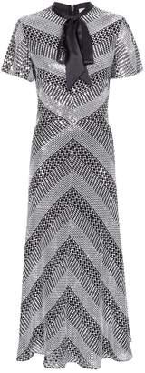 Temperley London Platinum Tie Neck Midi Dress