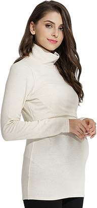a4aa770f2a898 Sweet Mommy Fleece Lined Maternity and Nursing Turtleneck Top NVM