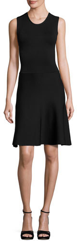 A.L.C.A.L.C. Este Sleeveless Fit-and-Flare Scuba Dress, Black