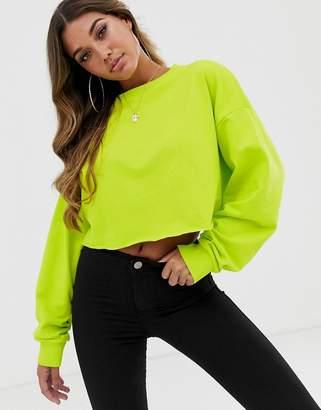 Asos Design DESIGN oversized boxy crop sweatshirt in lime green