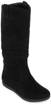 Arizona Womens Kerri Wide Calf Slouch Boots Flat Heel Pull-on