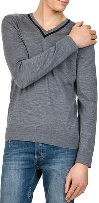 The Kooples Contrast V-Neck Sweater