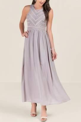 Elsie Lace Combo Bridesmaid Dress - Gray