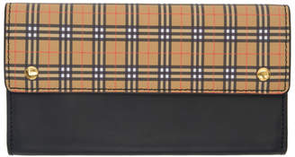 Burberry Black and Beige Small Scale Check Harris Wallet