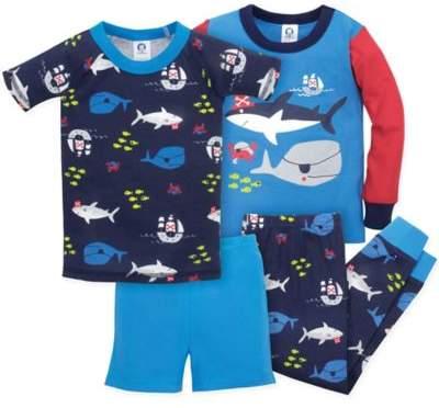 4-Piece Shark Pajama Set in Blue