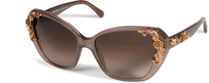 Dolce & Gabbana Acetate Sicilian Baroque Gradient Sunglasses in Opal Brown