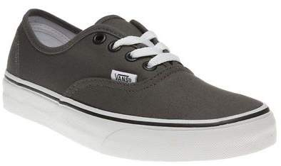 New Boys Grey Authentic Canvas Trainers Lace Up