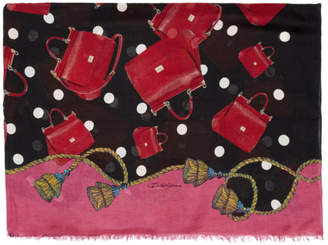 Dolce & Gabbana Black and Pink Miss Sicily Scarf