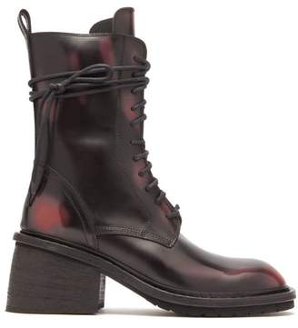 Ann Demeulemeester Block Heel Distressed Leather Boots - Womens - Black Red