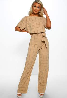 ae245db95e43 Pink Boutique Game Changer Stone Checked Belted Wide Leg Jumpsuit