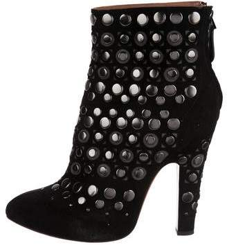 Alaia Suede Laser Cut Ankle Boots