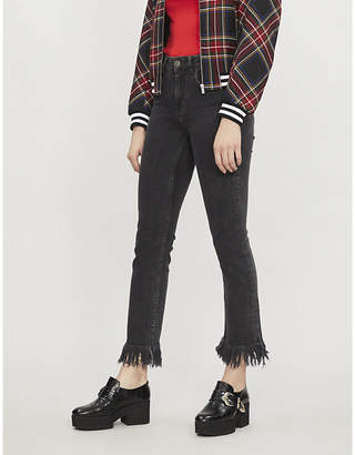 Maje Panakog fringed skinny stretch-denim jeans