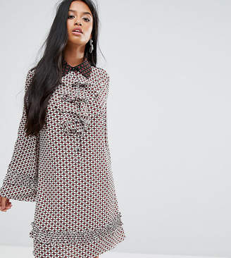 Sister Jane Petite Dress With Collar And Frills In Tile Print