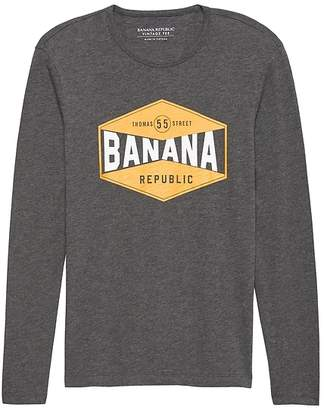 Banana Republic Vintage 100% Cotton Long-Sleeve Graphic T-Shirt