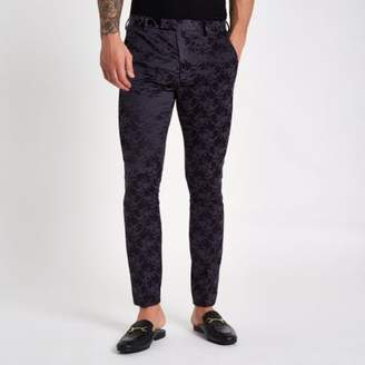 River Island Purple floral skinny fit suit pants