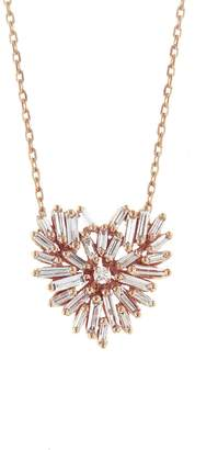 Suzanne Kalan Diamond Angel Heart Necklace - Rose Gold