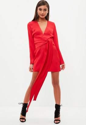 Missguided Red Satin Tie Waist Dress, Red